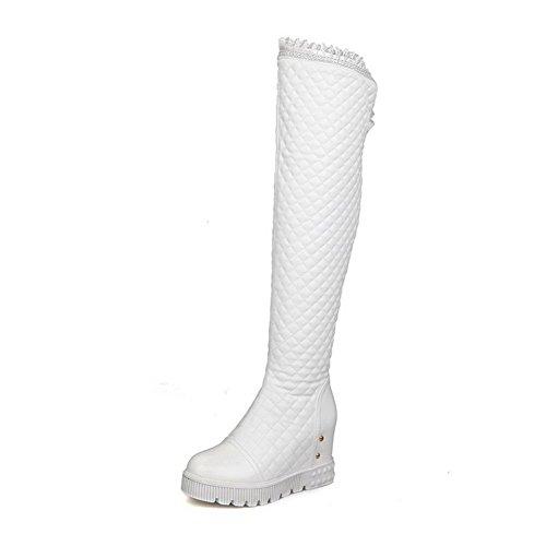 AllhqFashion Women's Solid Closed Round Toe Blend Materials Parent PU Above-The-Knee Boots B01C9Q3BC6 Parent Materials b926da