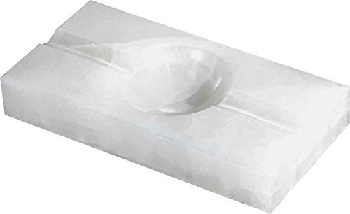 Visol Products Azure White Rectangle Onyx Stone Cigar Ashtray with 2 Cigar ()