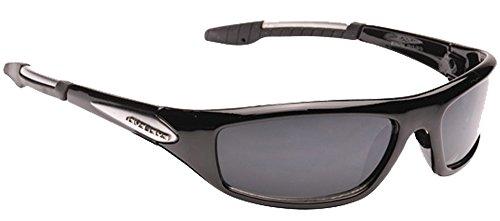 Mens Designer Dark Wrap Around Visor Sports Ski Biker Fishing Black Sunglasses + Case New (Dark Lense)