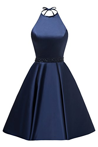 Women's Halter A-line Beaded Satin Homecoming Dress Short Evening Party Gown with Pockets Size 14 Navy (Beaded Satin Evening Dress)