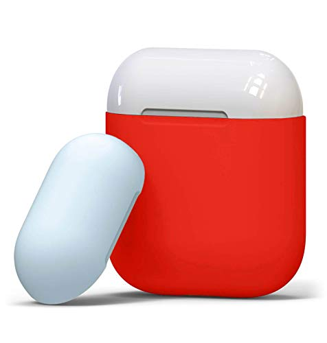 Airpods Case Soft Protective Silicon Cover Two-Tone Design with Ultra Slim 0.8mm Compatible for Apple Airpods Charging Case - Sky Blue Cap and Red -