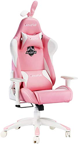 AutoFull Pink Gaming Chair PU Leather High Back Ergonomic Racing Office Desk Computer Chairs with Lumbar Support, Rabbit…