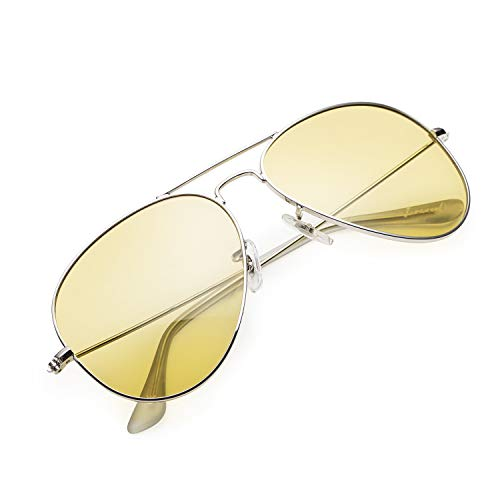 Night Driving Glasses, Classic Aviator Polarized Anti-glare Yellow Lens Sunglasses for Men Women (Silver/Yellow, Large - ()