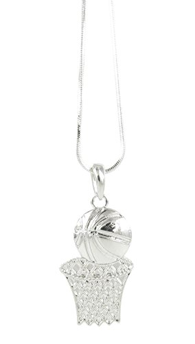 Flat Basketball and Net Pendant Necklace