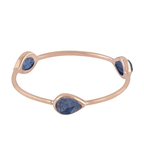 (Mettlle 14K Rose Gold Natural Blue Sapphire Three Stone Band Ring for Women Size 6)