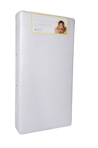 "Colgate 2-N-1 Orthopedic Crib and Toddler Mattress - 51.6"" L x 27.2"" W x 6"" H, Innerspring Duel Firmness with Waterproof Cover, Hypoallergenic, Made in The USA"