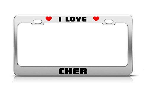 I Love Cher Boy Girl First Name License Plate Frame Funny Metal Car Tag Holder Fun, Thanksgiving Day Gifts