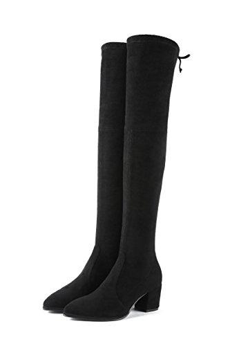 tacco tacco QIN QIN QIN Elastic sopra Black alto Donna scarpe stivali ginocchio alto ruvida il lunghi A amp;X fAxfwrH