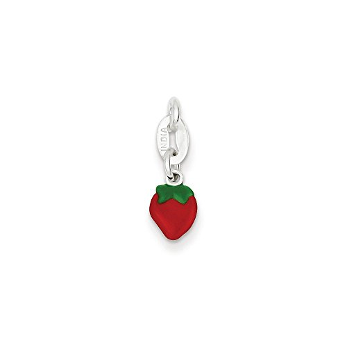 Pendants Career and Profession Charms .925 Sterling Silver Enameled Strawberry Charm Pendant ()
