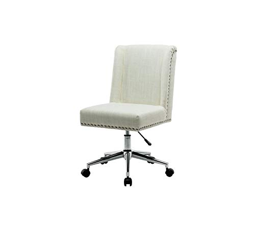 Pоrthоs Hоmе CRM Office Chair with Fabric Upholstery Studded Design One Size Cream ()