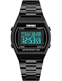 - Men's Digital Gold Stainless Steel Watch Backlight Multifunction Waterproof Alarm Clock LED Sports Watch (Black)