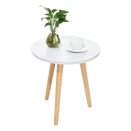 Mid-Century Modern End Table: Perfect Bedside Nightstand or Living Room Side/Accent Table - White Round Tabletop & 3 Bamboo Legs [1-Pack] -Ship from US! (Large-18.9×19.1inch) (3 Legged Round Table)
