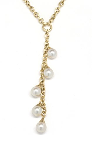 ISAAC WESTMAN 14K Yellow Gold Lariat Necklace with Japanese Akoya Cultured Pearls 7.5-8mm, 18