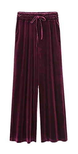 ARJOSA Women's Casual Pockets Drawstring Velour Track Pants Lounge Velvet Trousers (XL /14, Wine Red)