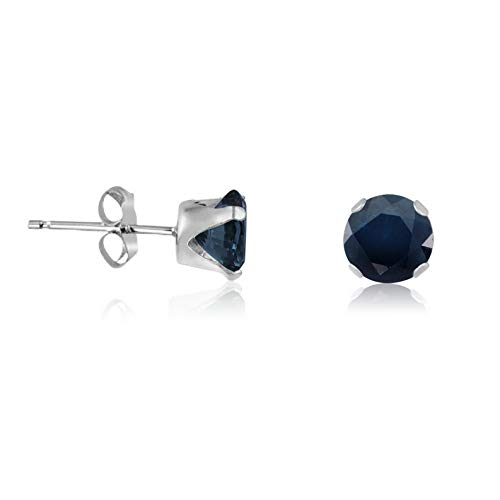 Campton Blue Sapphire Round Cut .925 Sterling Silver Stud Earrings - Genuine Deep Blue | Model ERRNGS - 14025 | 5mm - Top Seller ()