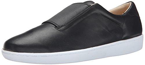 Nine West Women's Rumba Leather Fashion Sneaker, Black/Black, 9 M US