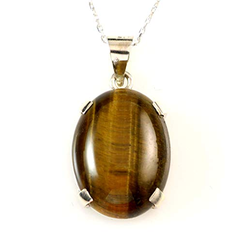 Sterling Silver Natural Brown Oval Tiger Eye Totally Handmade Healing Gemstone Pendant 16+2'' Chain