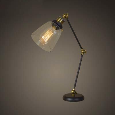 Susuo 北欧風 卓上ライト レトロ風 デスク ガラス スタンドライト LED対応 照明 おしゃれ テーブルランプ アーム式 調節可能 読書/寝室/仕事/等に最適 電球なし ss422893 ゴルード ブラック B07DG5GDZC