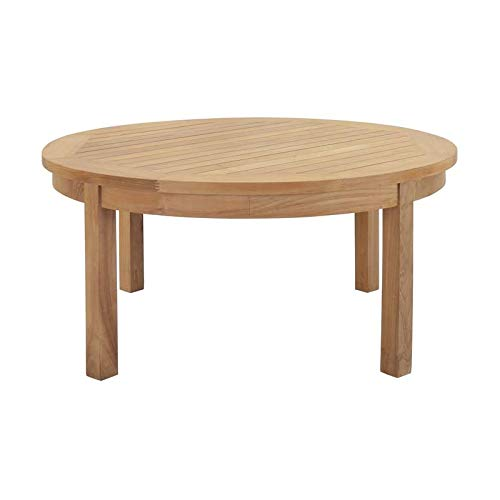 Hawthorne Collections Outdoor Teak Round Coffee Table in Natural ()