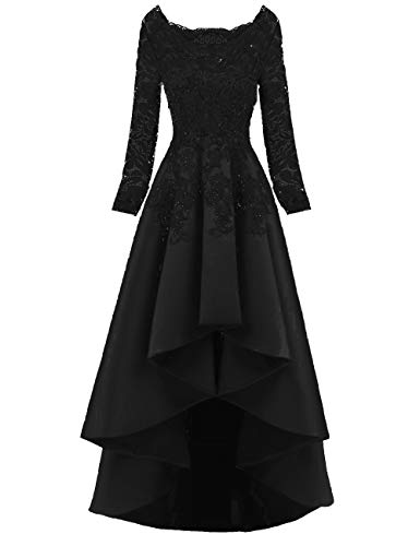 Scarisee Women's 2019 Long Sleeves High Low Prom Evening Dresses Beaded Lace Bridesmaid Cocktail Party Gowns 2019 Black 16