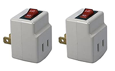 Single Port Power Adapter for outlet with On/Off Switch to be energy saving - 2 PACK