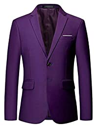 XQS Men's Formal Slim Single Breasted Leisure Dress Solid Suit Blazer Jackets