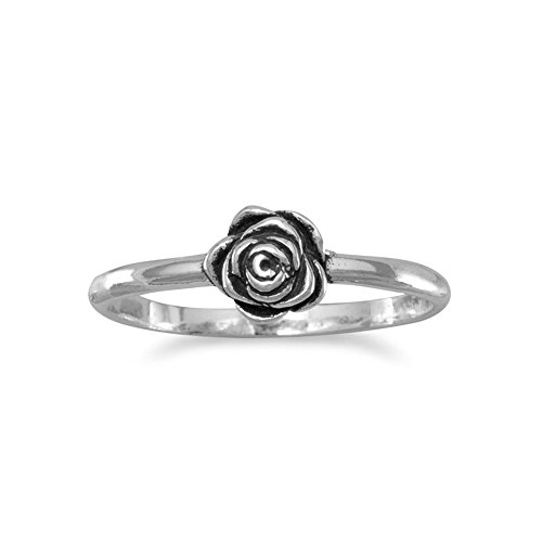 Flower Rose Ring Childrens or Pinkie Ring Small Antiqued Sterling Silver, 6 - Antiqued Rose Ring
