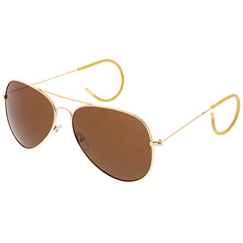 Large Classic Teardrop Cable Temple Curl Arm Wire Aviator Sunglasses 61mm (Gold/Brown)