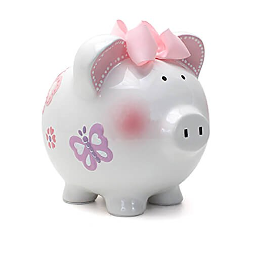 Flower Girl Piggy Bank - Child to Cherish Ceramic Piggy Bank for Girls, Butterfly