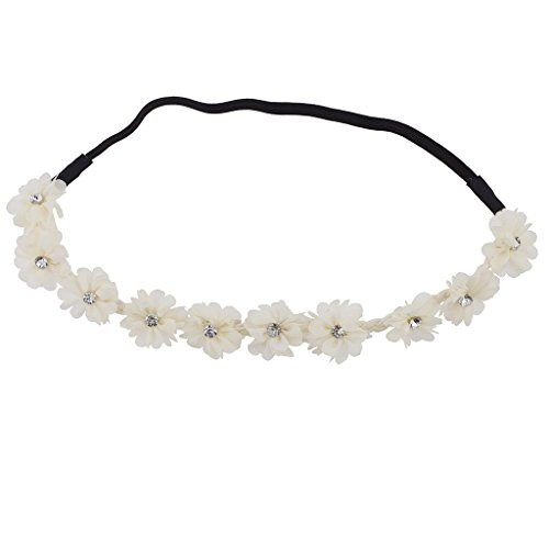 Hawaiian Floral Bands - Lux Accessories Faux Ivory Chiffon Crystal Stone Floral Elastic Headwrap Headband
