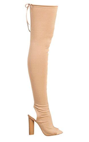 Kylie Knee Peep Toe Womens Nude High Ikrush Boots F16qZRxRw