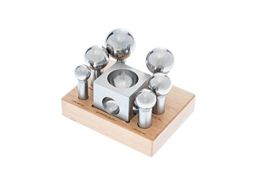 SE JT34607-7WB Jumbo Dapping Block and Punch Set with Wooden Storage Stand (7 PC.)