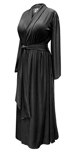 Solid Black Plus Size Supersize Poly/Cotton Robe With Attached Belt (Cotton Blend Belt)