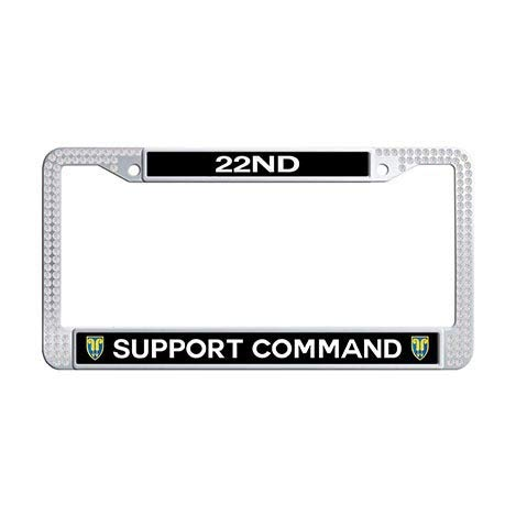(Makoncase 22nd Support Command Car License Plate Frame Holder,White Rhinestones License Cover Holder )
