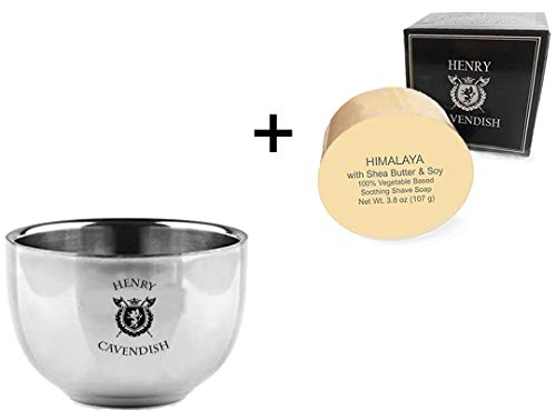 Henry Cavendish Himalaya Shaving Soap with Shea Butter & Coconut Oil. Long Lasting 3.8 oz Puck Refill. Himalaya Fragrance, plus Gentleman's Stainless Steel Shaving Soap Bowl.