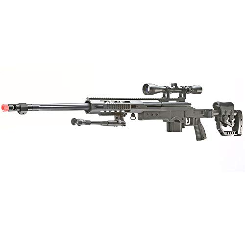 BBTac Well MB04 G-22 AWM Airsoft Sniper Rifle with 3-9 x 40 Scope and Bi-Pod