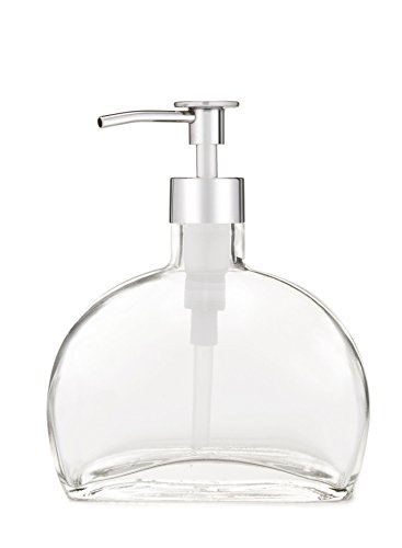 Glass Soap Dispenser Half Moon Recycled Glass Dispenser with Metal Pump (Chrome Luxe) ()