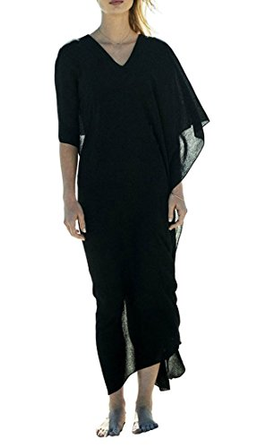 KingsCat Stylish Deep V-Neck Design Long Beach Top w/ Swimsuit Cover Up,Black (Design Cotton Suit)