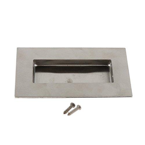 (Homyl Brushed Flush Recessed Sliding Pocket Door Handle Oval Shaped Home Cabinet Finger Pull-Gray - 76mm)