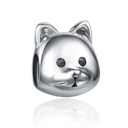 SILVERCUTE Animal Bead Charms Fit Pandora Bracelets Antique 925 Sterling Silver for Dog Lover (Cute Cat Charm)