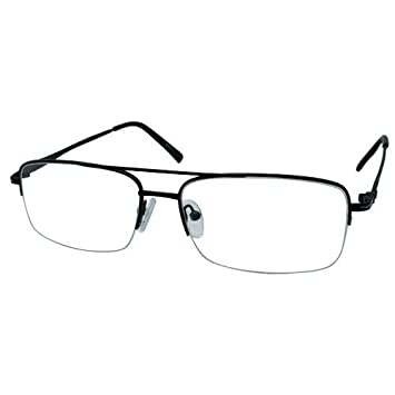 58b9bad81a Image Unavailable. Image not available for. Color  EyeBuyExpress Bifocal Men  Black Retro Style Half Rim Regular Hinge Eyewear Reading Glasses