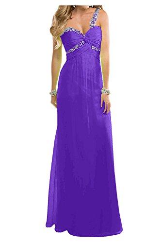Toscana novia Dulcemente Imperio de la gasa vestidos de noche largo de dama de honor vestidos de noche de los vestidos de bola morado