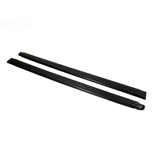 Wade 72-00471 Truck Bed Rail Caps Black Ribbed Finish without Stake Holes for 2005-2011 Dodge Dakota Extended Cab with 6.5ft bed (Set of 2)