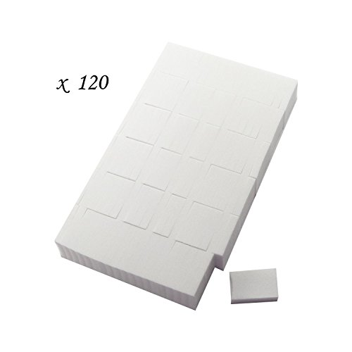 120 Miniature Small White Rectangle Cosmetic Makeup Sponges / Applicators - 1.25