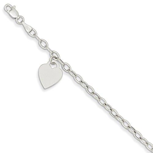 14k White Gold Dangle Heart Bracelet 7.5 Inch Charm W/charm/love Fine Jewelry For Women Gift Set (White Bracelet Charm 14k Gold)