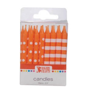 (Stripes and Dots Birthday Candles, 2.5-inch, Orange)