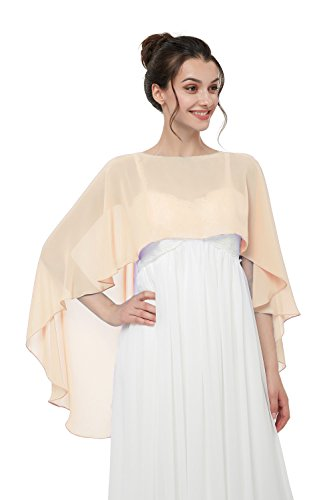 Hot Dresses Women's Chiffon Soft Shawl for Weddings Evening Wraps (Champagne) by HotDresses