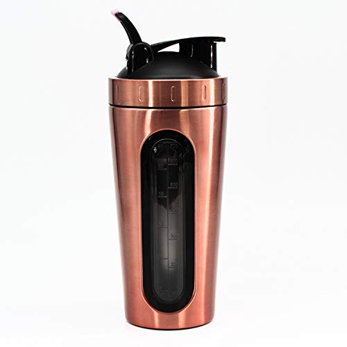 RoyalG Stainless Steel Protein Shaker Bottle with Visible Window, 28oz