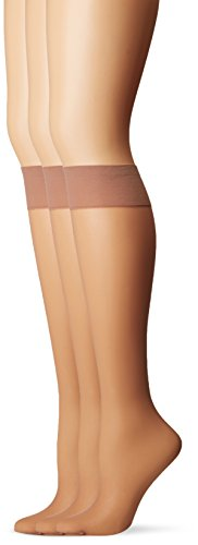 - Calvin Klein Women's Perfect Essentials Sheer Knee Hi, 3 Pair Pack, Nude, One Size