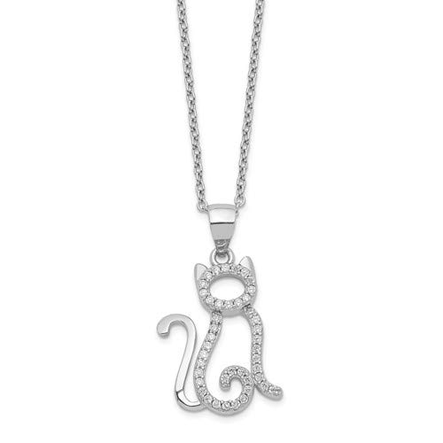 Rhodium-Plated Sterling Silver Cheryl M CZ Cat Necklace 18.25